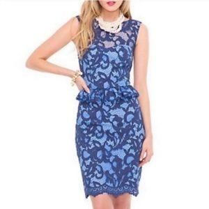 Lilly Pulitzer Kiri Blue Lace Peplum Dress Size 10